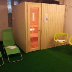 Szauna szoba került kialakításra, ahol pihenni felüdülés