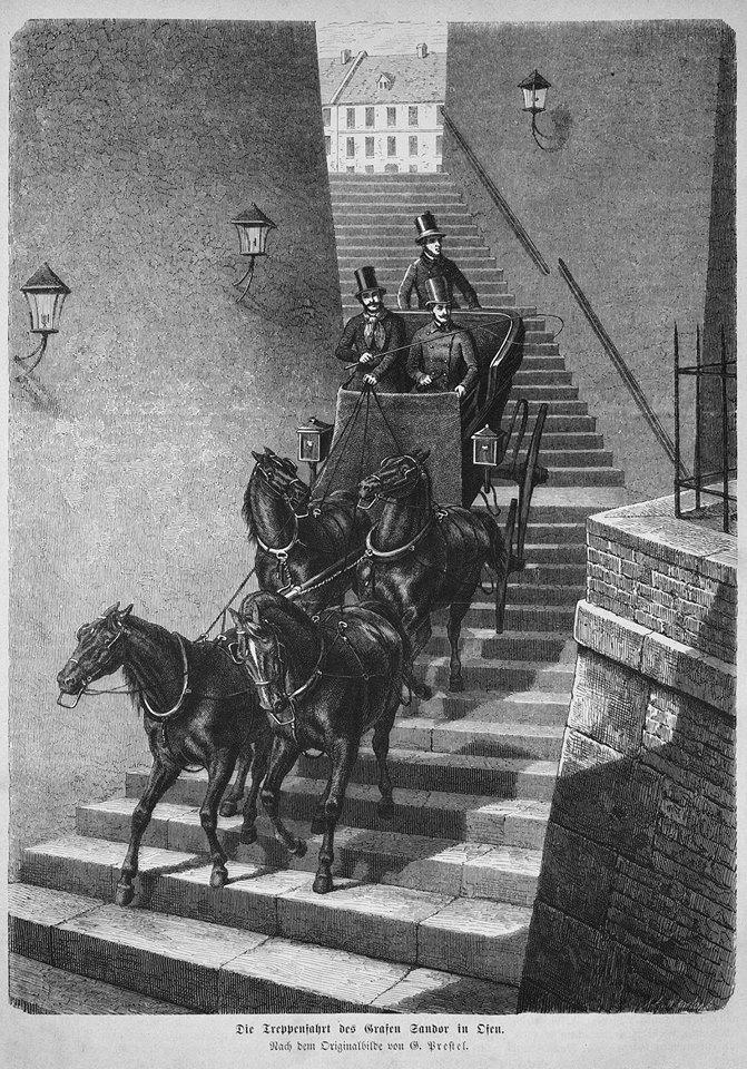 Wikimedia commons, Sándor Móric fogatával lehajt a budai várból a lépcsőkön